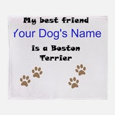 Custom Boston Terrier Best Friend Throw Blanket
