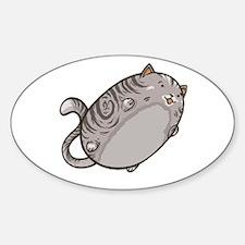 Flying Cat - Gray Tabby Sticker (Oval)