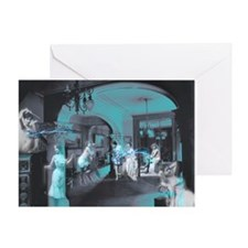 Blue Brothel Collage Greeting Card