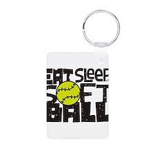 EAT, SLEEP, SOFTBALL - Black Keychains