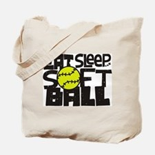 EAT, SLEEP, SOFTBALL - Black Tote Bag