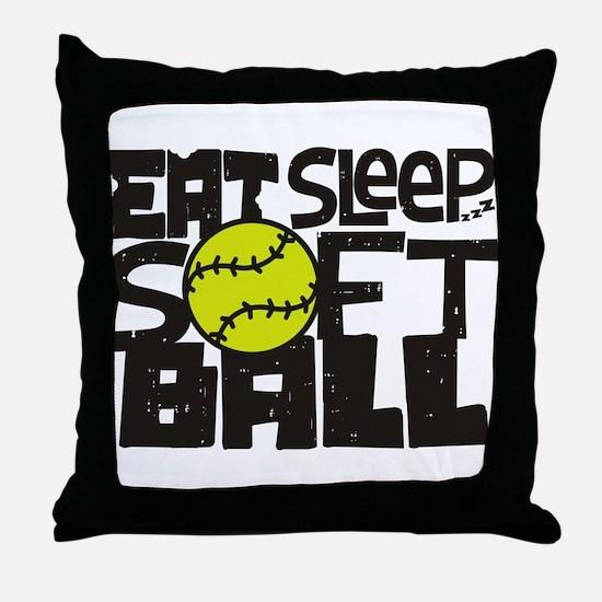 EAT, SLEEP, SOFTBALL - Black Throw Pillow