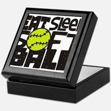 EAT, SLEEP, SOFTBALL - Black Keepsake Box