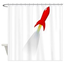 Red Rocket Space Ship Shower Curtain