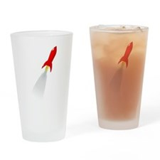 Red Rocket Space Ship Drinking Glass