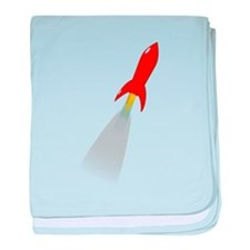 Red Rocket Space Ship baby blanket