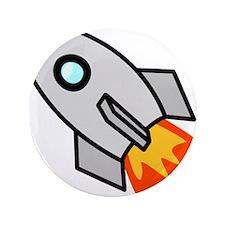 """Cartoon Rocket Space Ship 3.5"""" Button"""