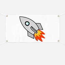 Cartoon Rocket Space Ship Banner