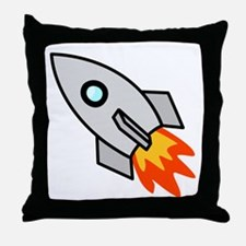 Cartoon Rocket Space Ship Throw Pillow