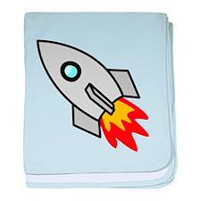 Cartoon Rocket Space Ship baby blanket