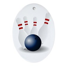 Bowling Ball and Pins Ornament (Oval)