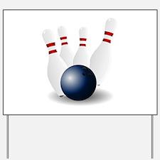 Bowling Ball and Pins Yard Sign