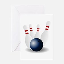 Bowling Ball and Pins Greeting Card
