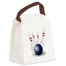 Bowling Ball and Pins Canvas Lunch Bag