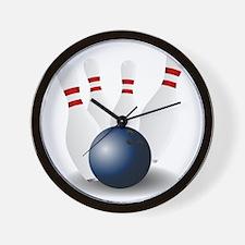 Bowling Ball and Pins Wall Clock