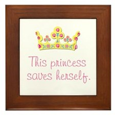 """This Princess Saves Herself"" Framed Tile"