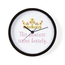 """""""This Princess Saves Herself"""" Wall Clock"""