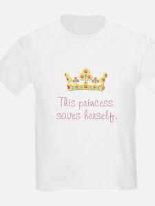 """This Princess Saves Herself"" Kids T-Shirt"
