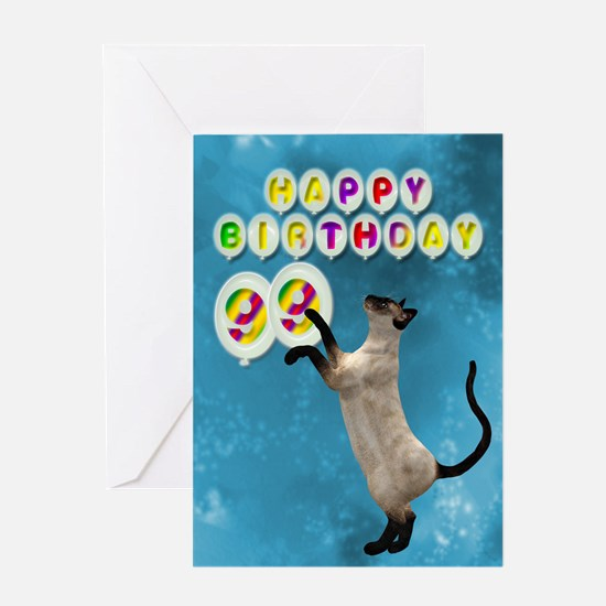 99th Birthday card with a cat Greeting Card