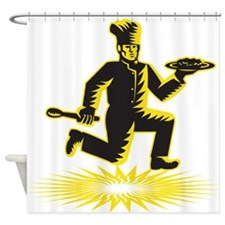 Chef Cook Serve Plate Running Retro Shower Curtain
