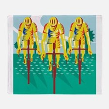 Cyclist Riding Bicycle Cycling Retro Throw Blanket