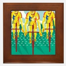 Cyclist Riding Bicycle Cycling Retro Framed Tile