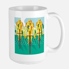 Cyclist Riding Bicycle Cycling Retro Mug