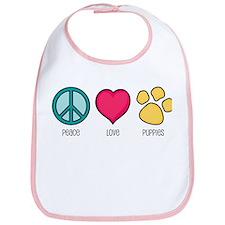 Peace Love & Puppies Bib