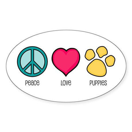 Peace Love & Puppies Oval Sticker