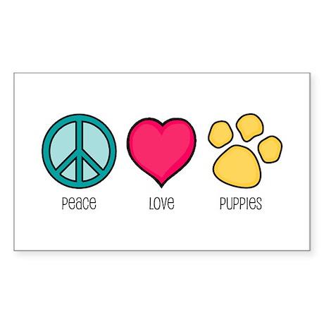 Peace Love & Puppies Rectangle Sticker