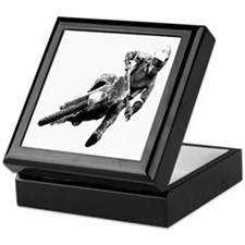 Grooving it on a dirt bike Keepsake Box