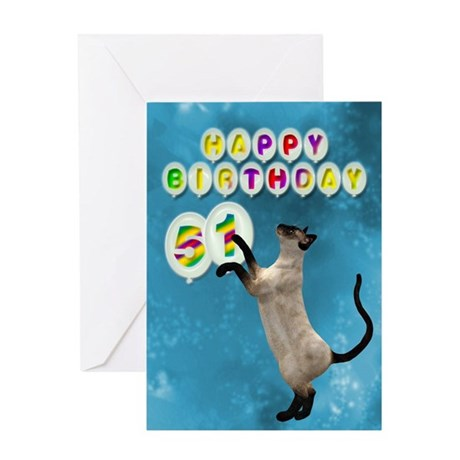 51st Birthday card with a cat Greeting Card