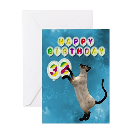32nd Birthday card with a cat Greeting Card