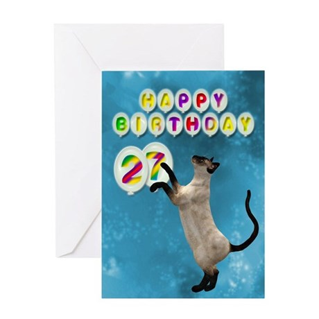 27th Birthday card with a cat Greeting Card
