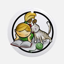 Cute Girl and Kitten Ornament (Round)