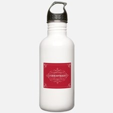 Vintage Christmas typography Water Bottle