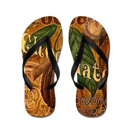Chocolate Collage Flip Flops