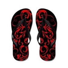 Red Gothic Swirls Flip Flops