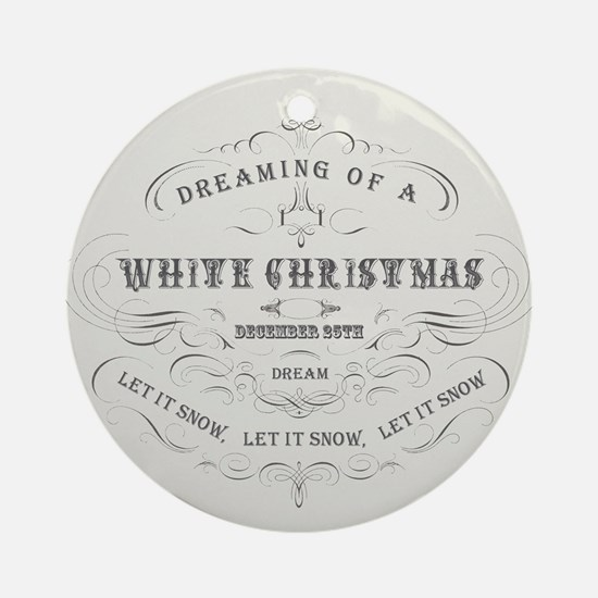 Vintage White Christmas Ornament (Round)