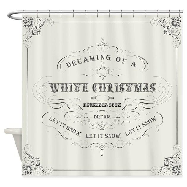vintage white christmas shower curtaindesignsbyheathermyers1