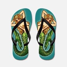 Retro Mermaid Tattoo Art Flip Flops