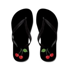 Retro Cherries Black Flip Flops