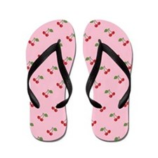Retro Cherries Pink Flip Flops