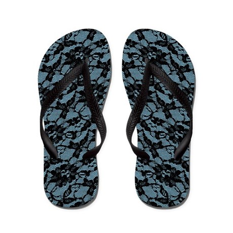 Blue And Black Lace Pattern Flip Flops