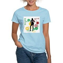 Retro Peace & Love Women's Pink T-Shirt
