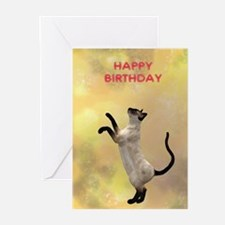 Cat playing birthday card Greeting Cards (Pk of 10