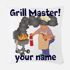 Personalized Grill Master Woven Throw Pillow