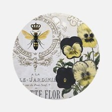 Modern Vintage French Pansies Ornament (Round)
