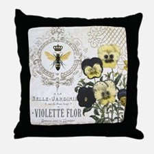 Modern Vintage French Pansies Throw Pillow