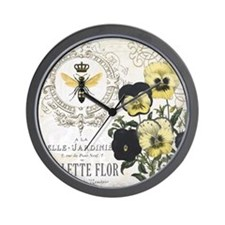 Modern Vintage French Pansies Wall Clock